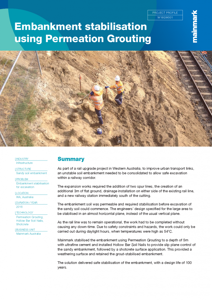Embankment stabilisation using Permeation Grouting
