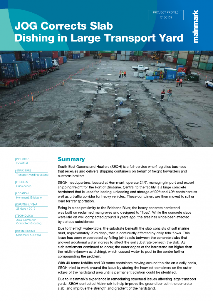 JOG corrects slab dishing in large transport yard