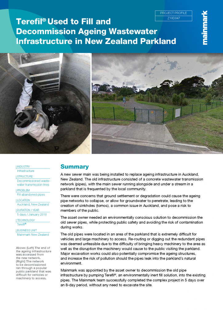 Terefil used to fill and decommission ageing wastewater infrastructure in New Zealand parkland
