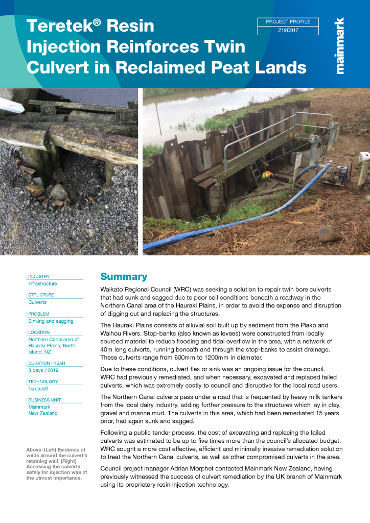Teretek Resin Injection Reinforces Twin Culvert in Reclaimed Peat Lands