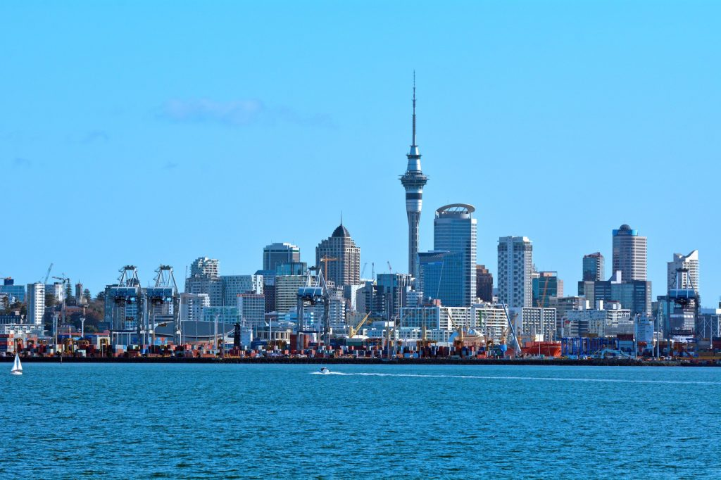 Auckland city skyline Waitemata harbour New Zealand