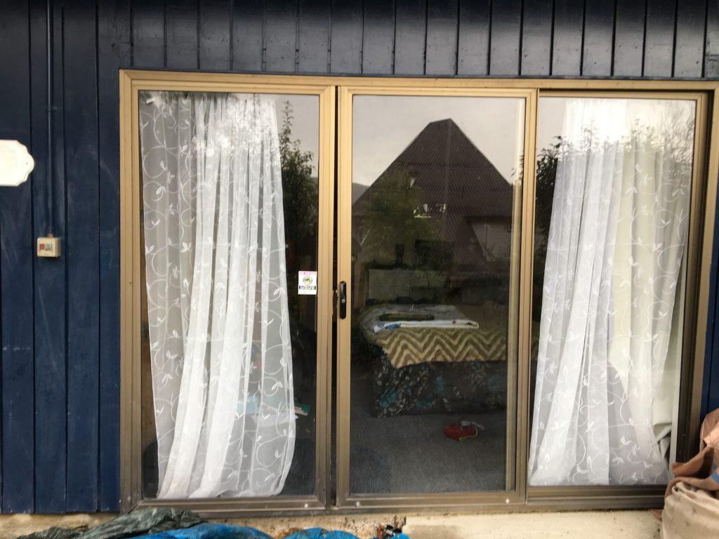 Misaligned sliding glass door