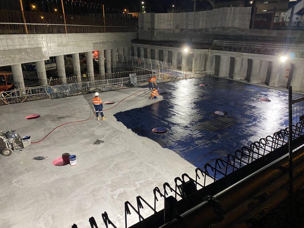 Waterproofing concrete floor
