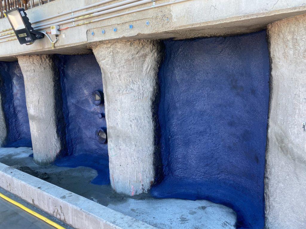 Waterproofing concrete wall