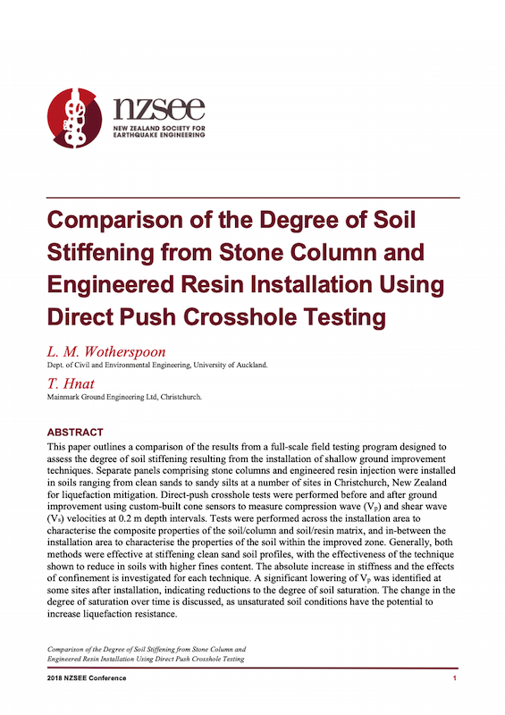 document Comparison of the Degree of Soil Stiffening from Stone Column and Engineered Resin Installation Using Direct Push Crosshole Testing