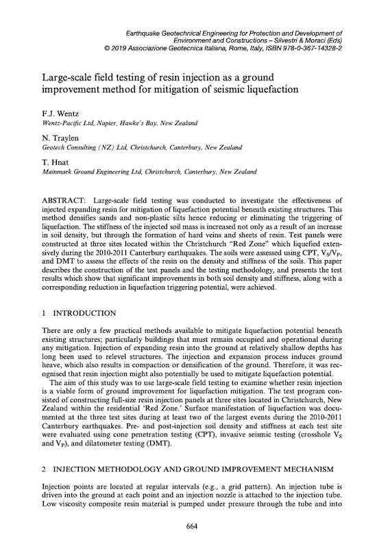 documents Large-scale field testing of resin injection as a ground improvement method for mitigation of seismic liquefaction