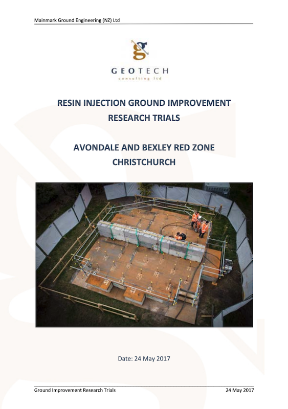 document Resin Injection Ground Improvement Research Trials