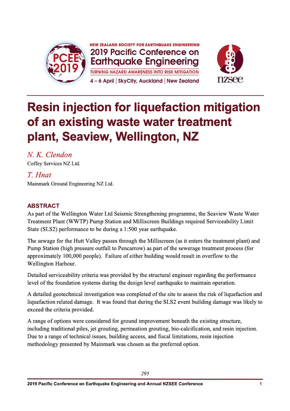 Abstract of Resin injection for liquefaction mitigation of an existing waste water treatment plant, Seaview, Wellington, NZ