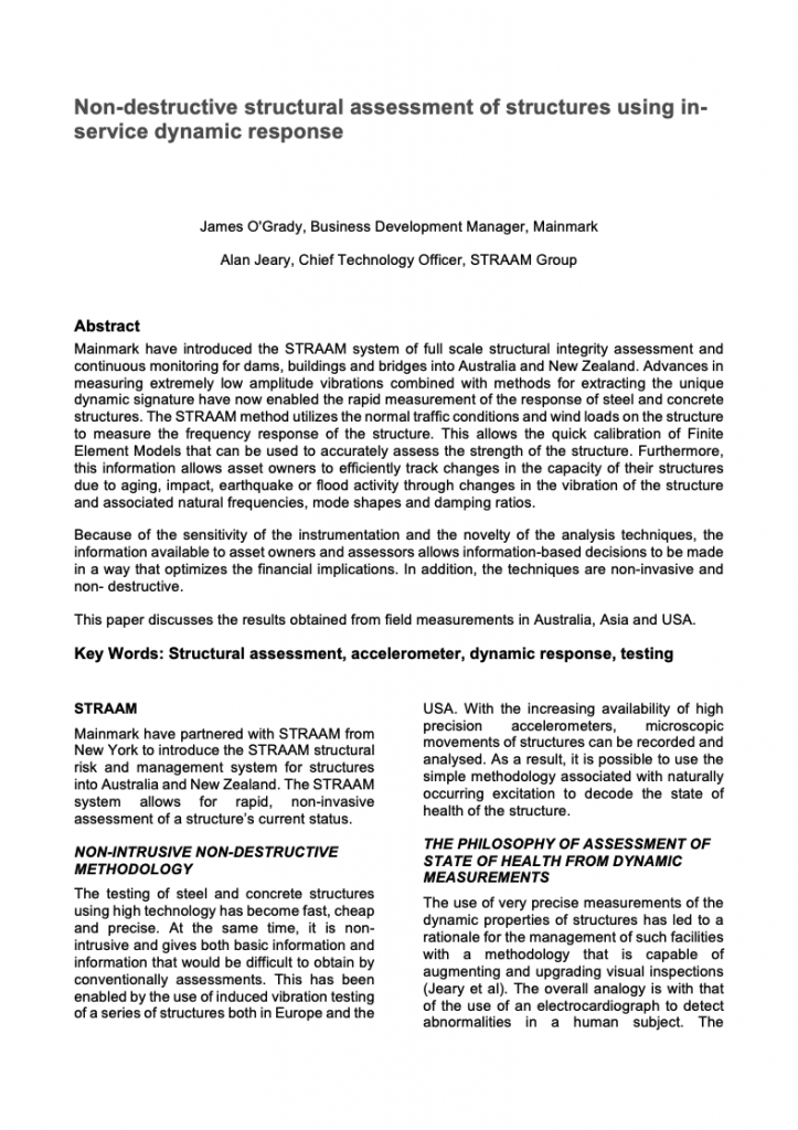 Document Non-destructive structural assessment of structures using inservice dynamic response