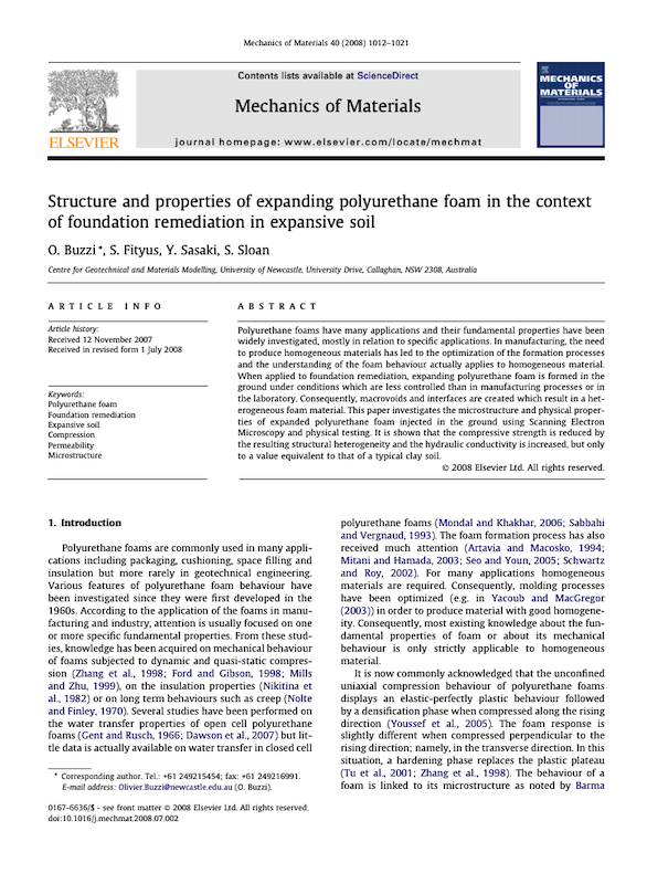 Document Structure and properties of expanding polyurethane foam in the context of foundation remediation in expansive soil