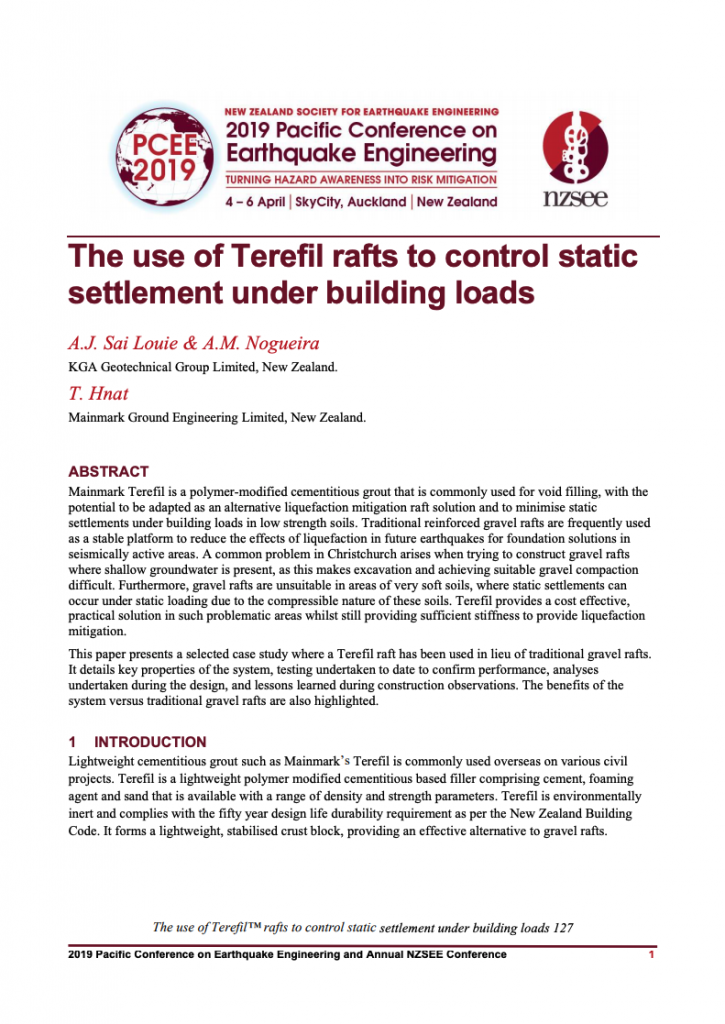 Document The use of Terefil rafts to control static settlement under building loads