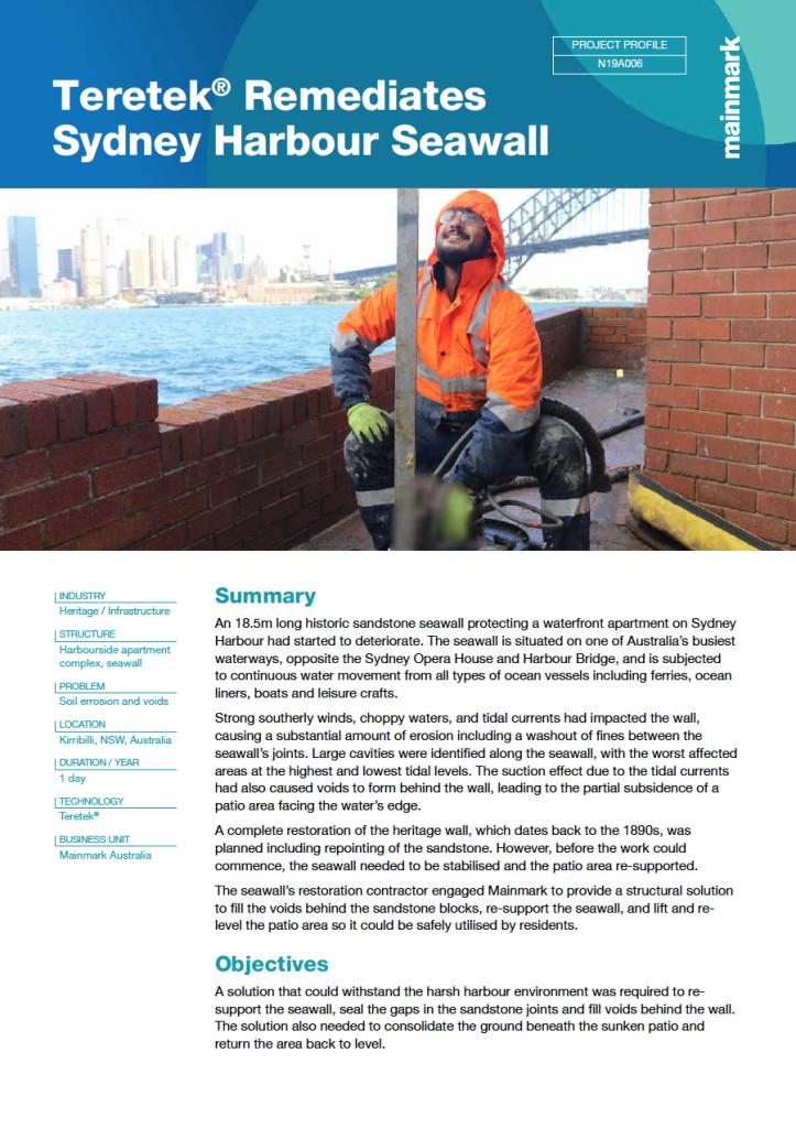 PP-Teretek® Remediates Sydney Harbour Seawall-Jan 2021