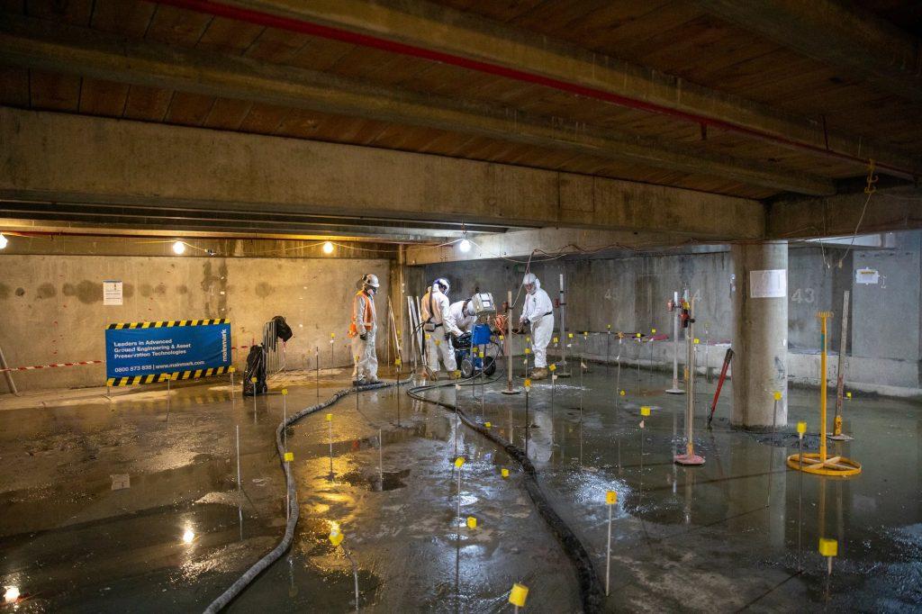 Terefirm injection points inside shopping complex basement carpark liquefaction mitigation