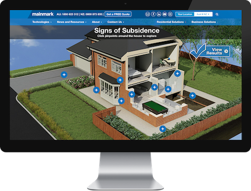 computer screen with Typical signs of subsidence