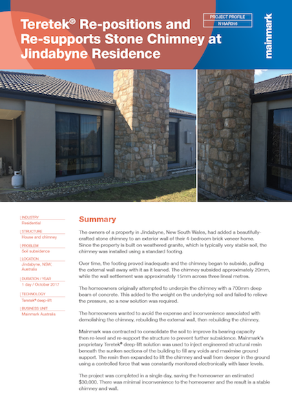 Teretek Re-positions and Re-supports Stone Chimney at Jindabyne Residence