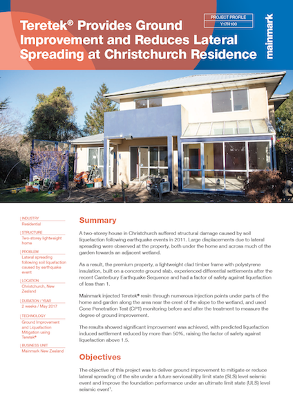 Teretek Provides Ground Improvement and Reduces lateral Spreading at Christchurch Residence