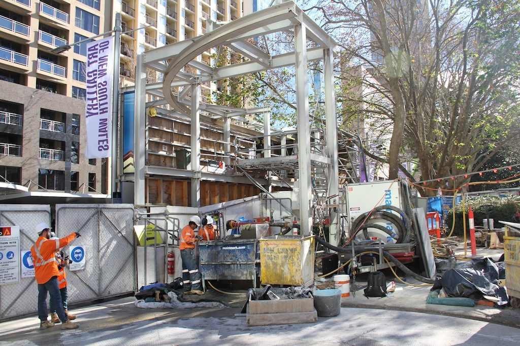 Lift shafts stabilised for disabled access to Museum Station