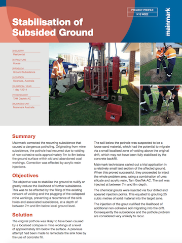 Stabilisation of Subsided Ground